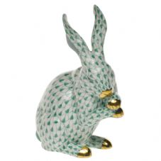 Herend Porcelain Fishnet Figurine of a Medium Rabbit